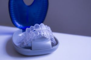 Clear orthodontic trays in their case